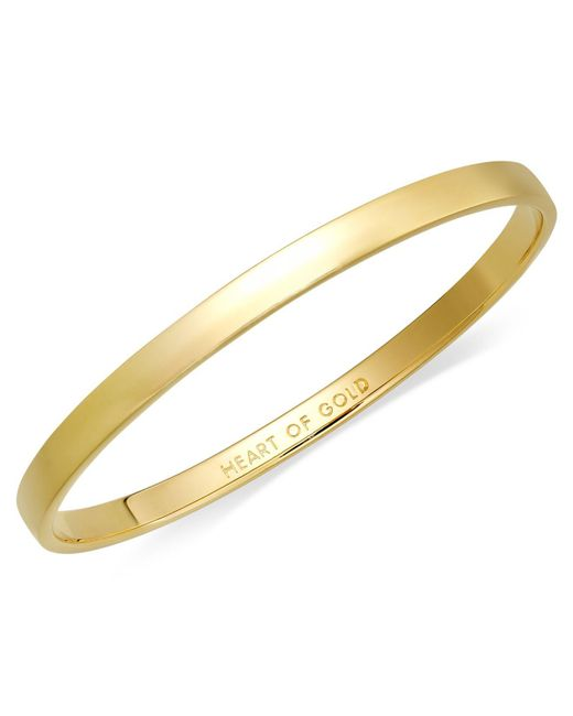 Kate Spade - Metallic Bracelet, 12k Gold-plated Heart Of Gold Idiom Bangle Bracelet - Lyst