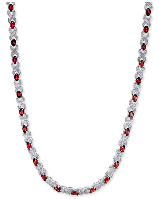 Macy's - Red Garnet (20 Ct. T.w.) And Diamond Accent Collar Necklace In Sterling Silver - Lyst
