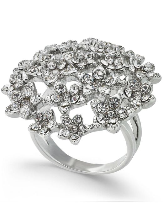 INC International Concepts - Metallic I.n.c. Silver-tone Crystal Cluster Flower Statement Ring, Created For Macy's - Lyst