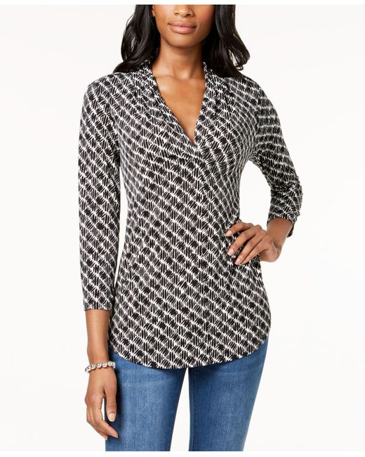 Charter Club - Black Printed V-neck Top, Created For Macy's - Lyst