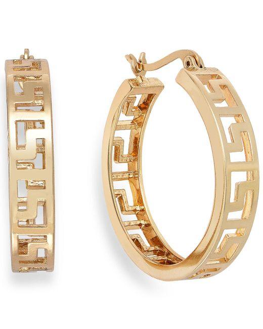 Charter Club   Metallic Gold-tone Greek Key Hoop Earrings   Lyst