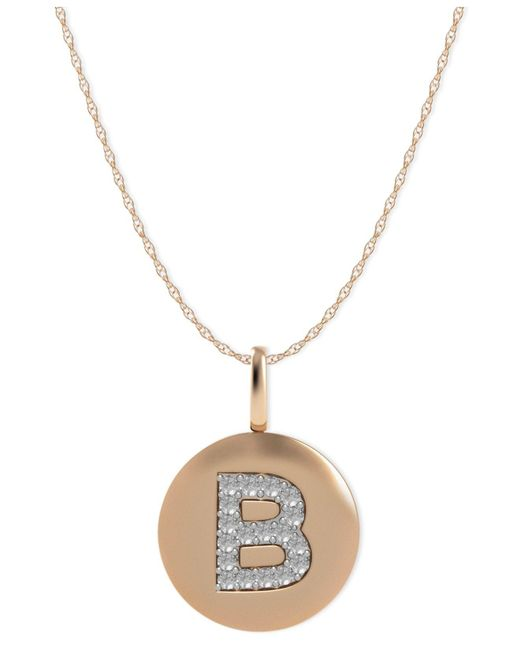 Macy's - Metallic 14k Rose Gold Necklace, Diamond Accent Letter B Disk Pendant - Lyst
