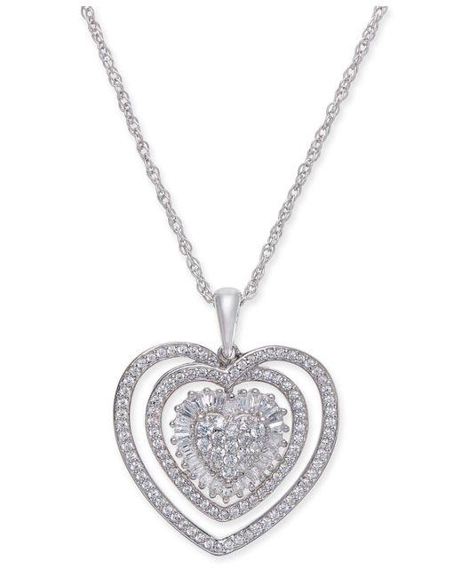 3f86f29254f Lyst - Macy s Diamond Heart Pendant Necklace (1 2 Ct. T.w.) In ...