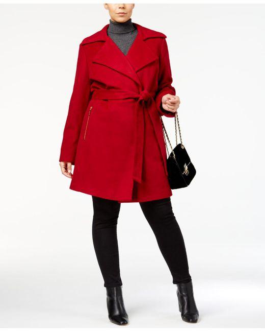 Michael Kors | Red Plus Size Asymmetrical Skirted Walker Coat | Lyst