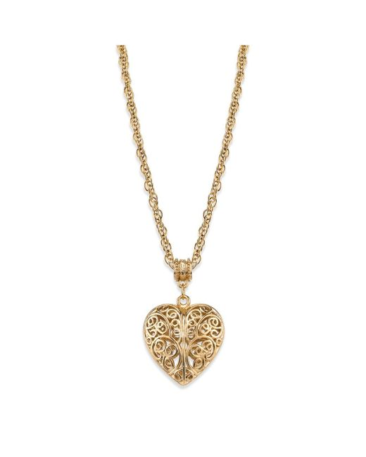 """2028 Metallic 14k Gold-dipped Filigree Heart With Swarovski Crystal Accent Necklace 18"""""""