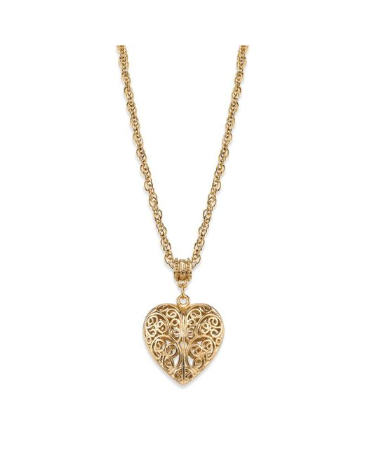 "2028 - Metallic 14k Gold-dipped Filigree Heart With Swarovski Crystal Accent Necklace 18"" - Lyst"