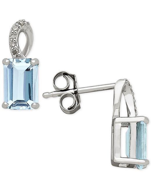Macy's | Blue Aquamarine (1-1/10 Ct. T.w.) And Diamond Accent Drop Earrings In 14k White Gold | Lyst
