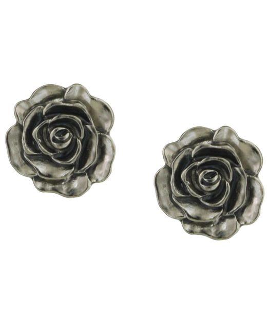2028 | Metallic Earrings, Silver-tone Jet Enamel Flower Stud | Lyst