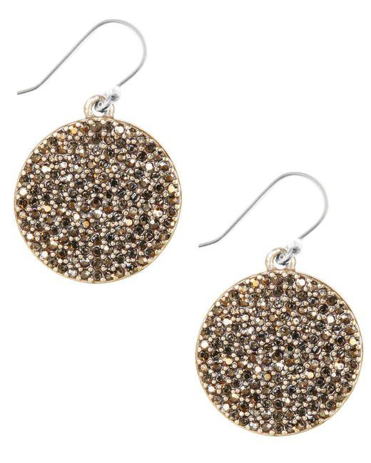 Lucky Brand | Metallic Earrings, Gold-tone Pave Disk Earrings | Lyst