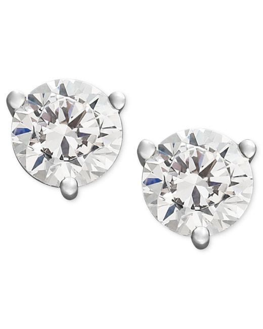 Macy's | Multicolor Certified Near Colorless Diamond Stud Earrings In 18k White Or Yellow Gold (1/4 Ct. T.w.) | Lyst