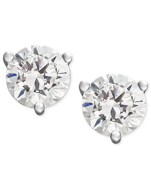 Macy's | Metallic Near Colorless Certified Diamond Stud Earrings In 18k White Or Yellow Gold (1/2 Ct. T.w.) | Lyst