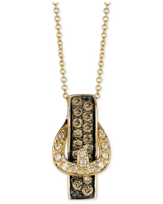 Le Vian | White Diamond Accent And Chocolate Diamond (1/2 Ct. T.w.) Buckle Pendant Necklace In 14k Gold | Lyst