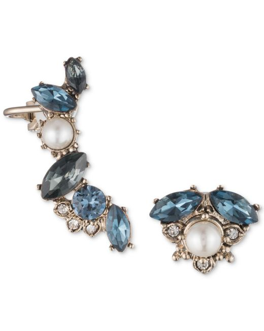 Marchesa - Metallic Gold-tone Crystal, Stone & Imitation Pearl Mismatch Earrings - Lyst