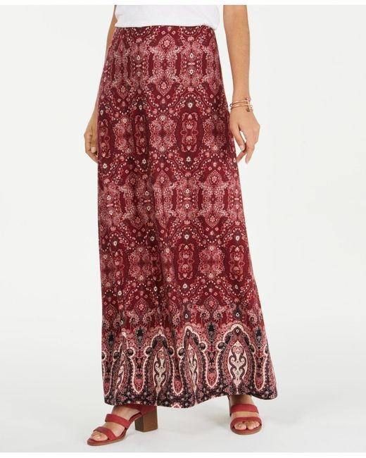 Style & Co. Red Petite Printed Maxi Skirt, Created For Macy's
