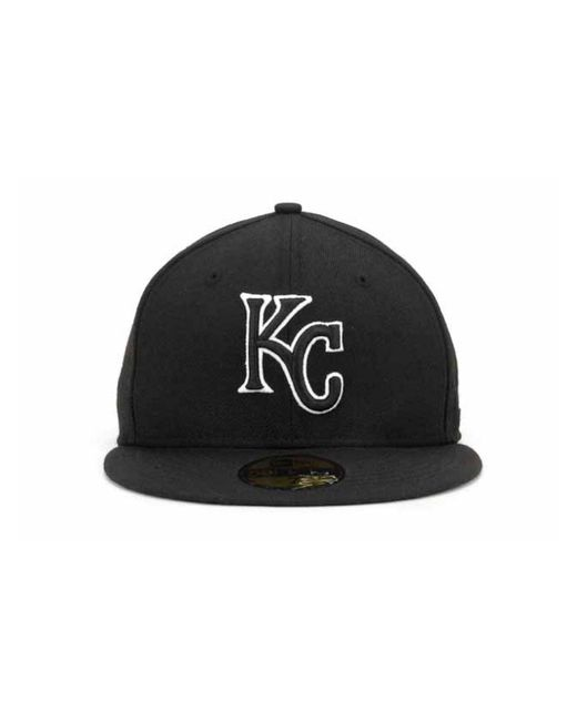 pretty nice d6fe7 48432 ... KTZ - Kansas City Royals Black And White Fashion 59fifty Cap for Men -  Lyst ...