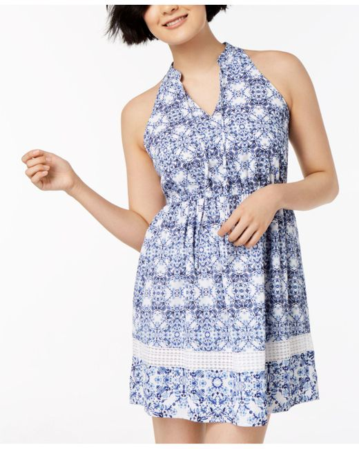 Maison Jules - Blue Ikat-print Halter Dress, Created For Macy's - Lyst