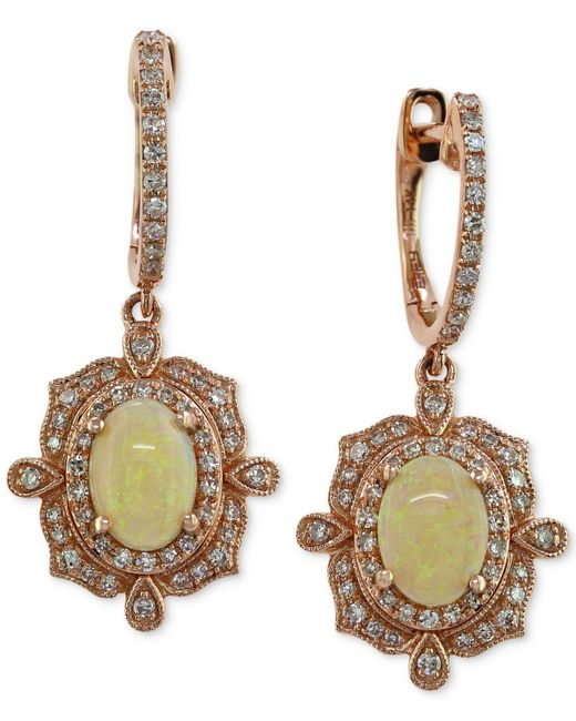 Effy Collection - Pink Opal (9/10 Ct. T.w.) And Diamond (3/8 Ct. T.w.) Drop Earrings In 14k Rose Gold - Lyst