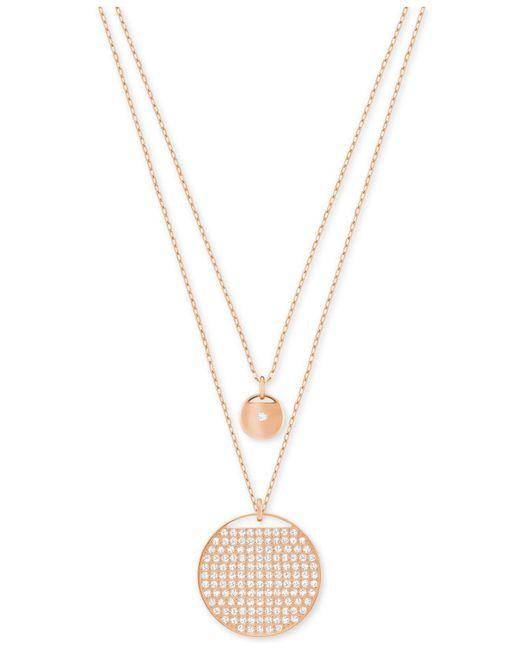 Swarovski - Metallic Ginger Layered Polished And Pavé Pendant Necklace - Lyst