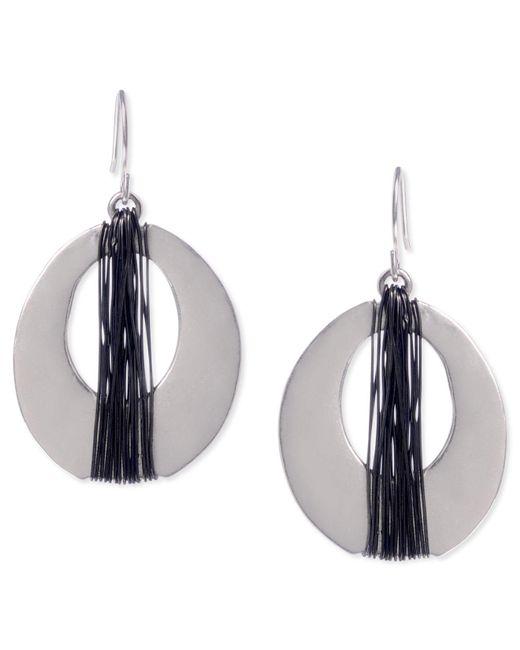 Kenneth Cole - Gray Earrings, Two-tone Oval Drop Earrings - Lyst