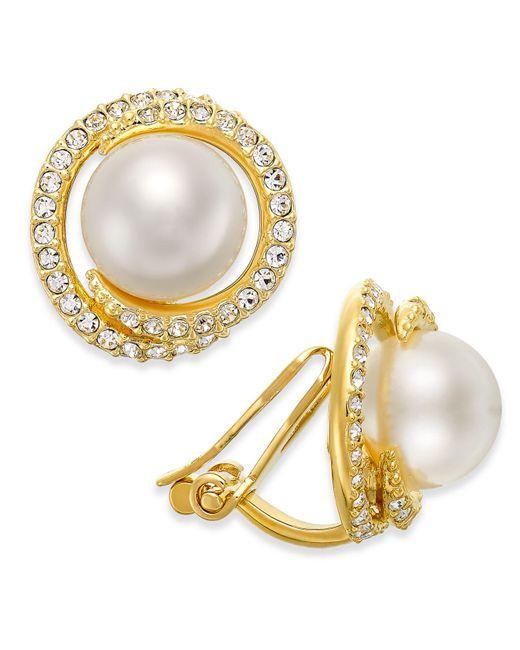 Danori - Metallic Gold-tone Imitation Pearl And Crystal Clip-on Earrings - Lyst