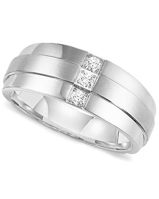 Triton Men 39 S Three Stone Diamond Wedding Band Ring In Stainless Steel 1