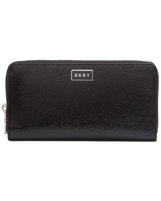 DKNY Black Gigi Leather Zip Around Wallet, Created For Macy's