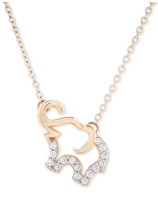 Macy's | Metallic Diamond Elephant Pendant Necklace (1/10 Ct. T.w.) In 10k Gold | Lyst
