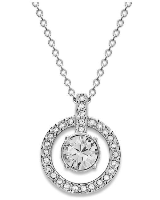 Swarovski   Metallic Necklace, Double Circle Crystal Pendant   Lyst