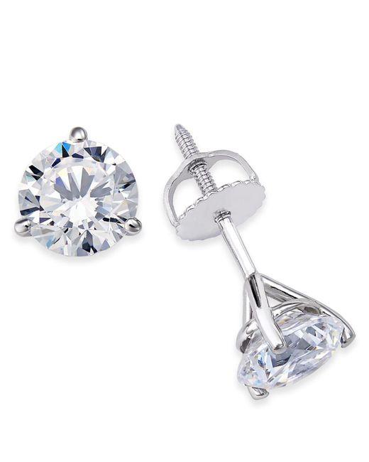 Macy's - Metallic Certified Near Colorless Diamond 3-prong Stud Earrings (1-1/2 Ct. T.w.) In 18k White Gold - Lyst