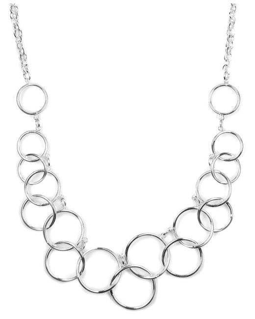 Nine West | Metallic Necklace, Silver-tone Circle Frontal Necklace | Lyst
