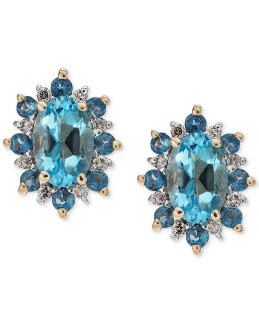 Macy's - Blue Topaz (1-1/5 Ct. T.w.) & Diamond Accent Stud Earrings In 14 Gold - Lyst