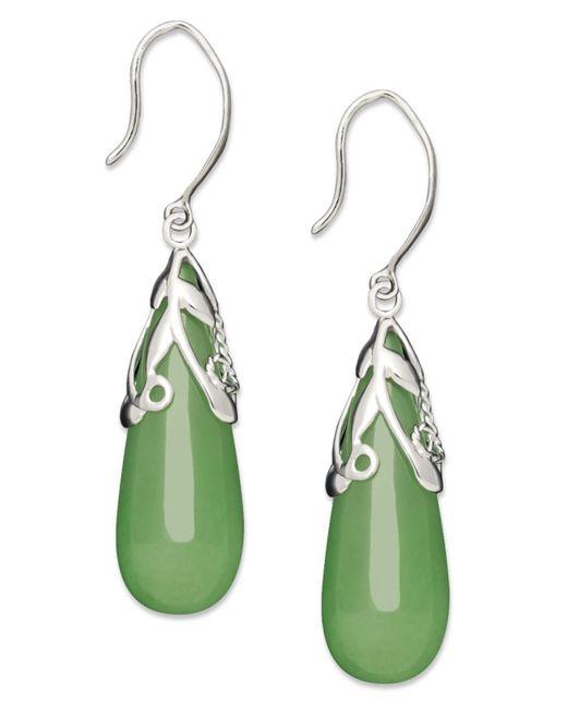 Macy's   Metallic Sterling Silver Earrings, Jade Leaf Top Teardrop Earrings   Lyst