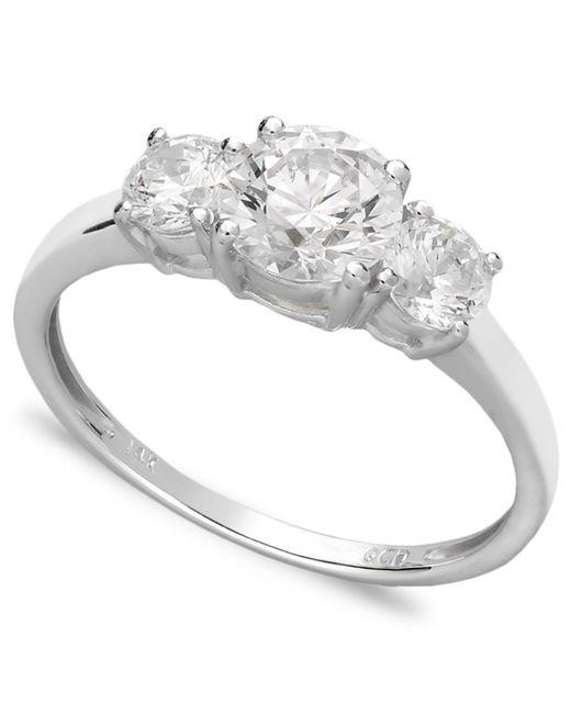 Arabella | 14k White Gold Ring, Swarovski Zirconia Small Three Stone Ring (2-3/8 Ct. T.w.) | Lyst