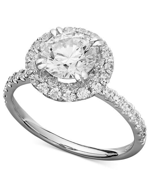 Arabella | Metallic 14k White Gold Ring, Swarovski Zirconia Round Pave Engagement Ring (3-1/2 Ct. T.w.) | Lyst