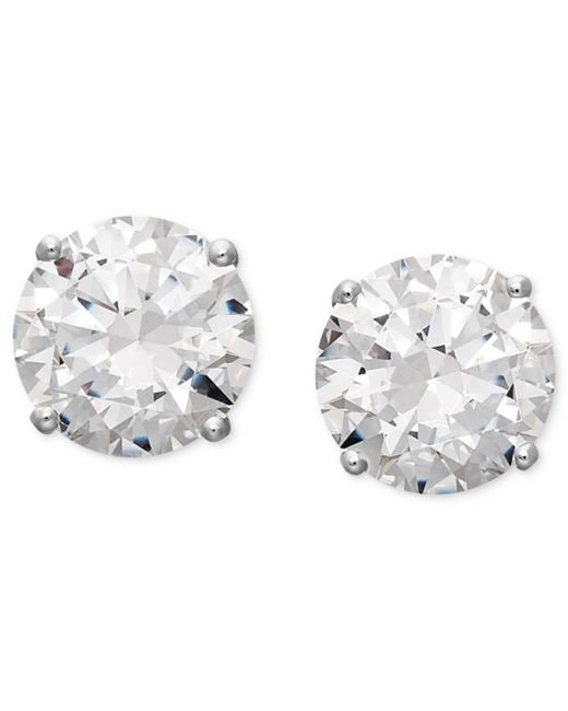 Arabella | Metallic 14k White Gold Earrings, Swarovski Zirconia Round Stud Earrings (6-5/8 Ct. T.w.) | Lyst