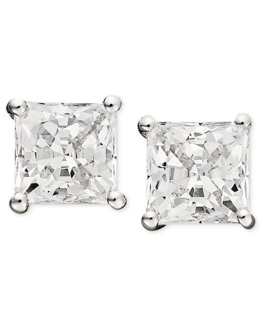 Arabella | 14k White Gold Earrings, Swarovski Zirconia Princess Cut Stud Earrings (3-3/4 Ct. T.w.) | Lyst