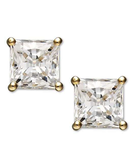 Arabella | Metallic 14k Gold Earrings, Swarovski Zirconia Princess Cut Stud Earrings (2-3/4 Ct. T.w.) | Lyst