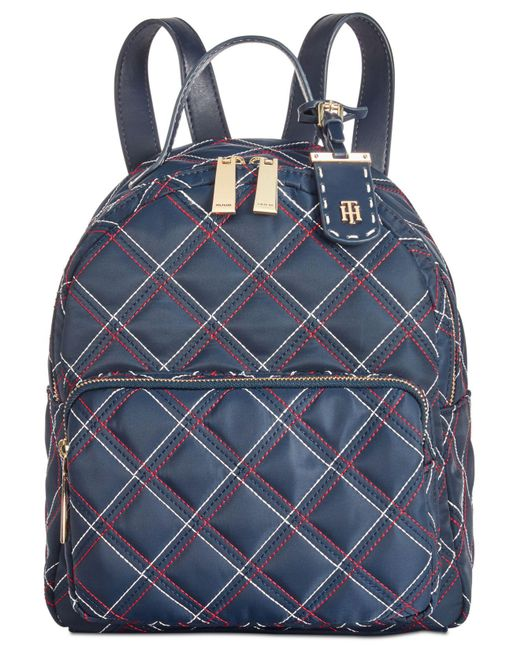 Tommy Hilfiger - Blue Julia Triple Quilted Nylon Dome Small Backpack - Lyst