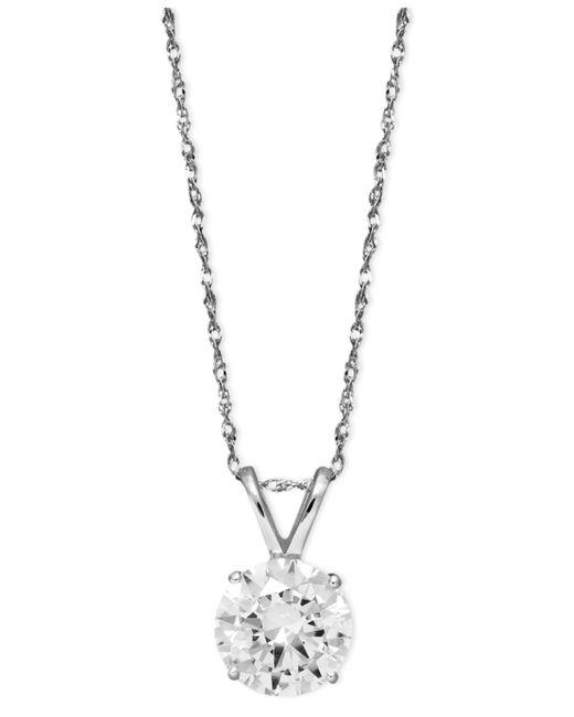 Arabella | Metallic 14k White Gold Necklace, Swarovski Zirconia Round Pendant (2-1/6 Ct. T.w.) | Lyst