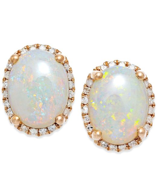 Macy's - Metallic Opal (2 Ct. T.w.) And Diamond (1/6 Ct. T.w.) Stud Earrings In 14k Rose Gold - Lyst