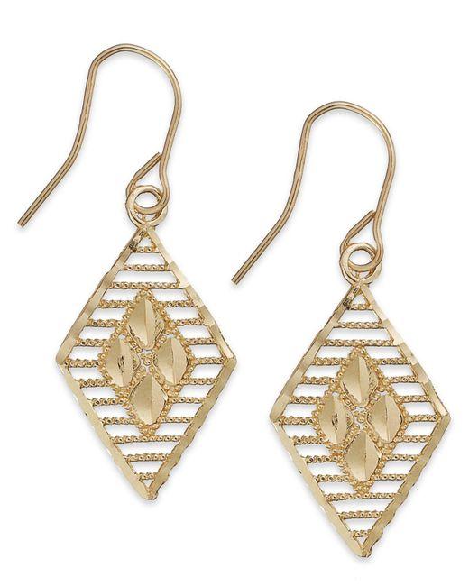 Macy's - Metallic 10k Two-tone Gold Earrings, Diamond Cut Earrings - Lyst