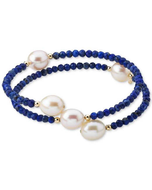 Macy's - Blue Cultured Freshwater Pearl (10mm) & Lapis Lazuli (3mm) Wrap Bracelet In 14k Gold (also Black Spinel) - Lyst
