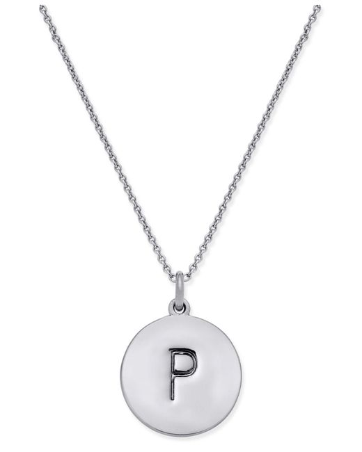 "Kate Spade - Metallic Silver-tone ""k"" Disc Pendant Necklace - Lyst"