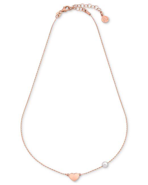 Majorica - Metallic Imitation Pearl & Heart Charm Collar Necklace - Lyst