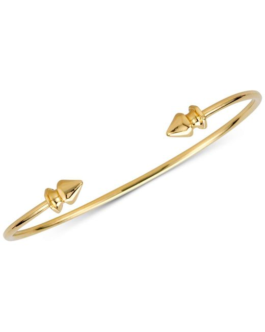 Sarah Chloe - Metallic Polished Decorative Cuff Bangle Bracelet In 14k Gold-plated Sterling Silver - Lyst
