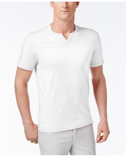 INC International Concepts - White Men's Soft Touch Split-neck T-shirt for Men - Lyst