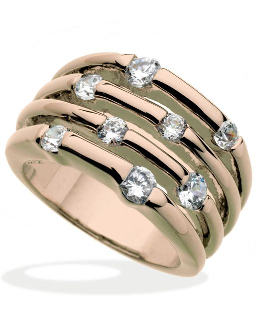 Guess - Pink Rose Gold-tone Multirow Crystal Stone Ring - Lyst