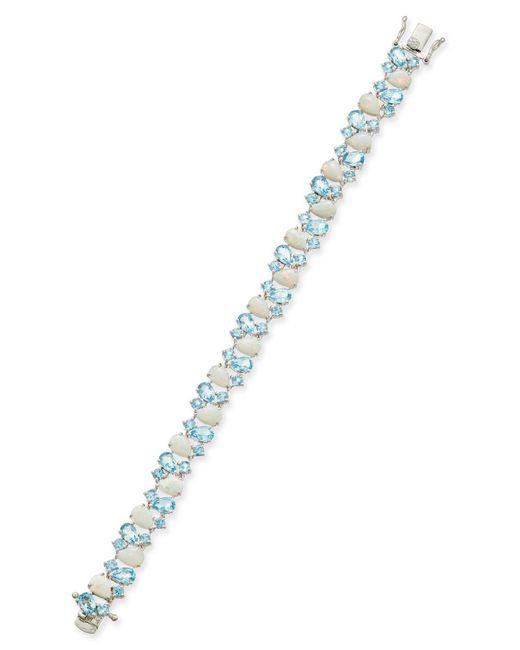 Macy's - Metallic Blue Topaz (8 Ct. T.w.) And Opal (8 Ct. T.w.) Link Bracelet In Sterling Silver - Lyst