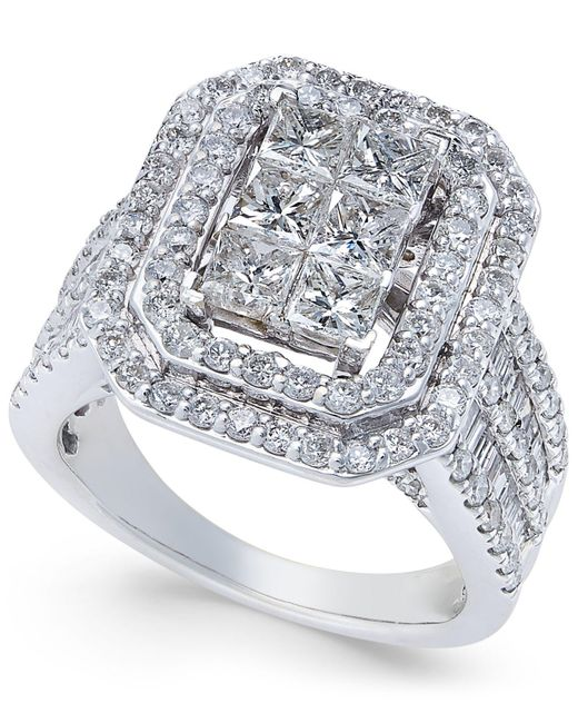 Macy's - Metallic Diamond Engagement Ring (3 Ct. T.w.) In 14k White Gold - Lyst
