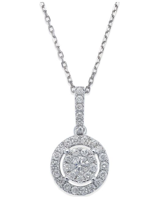 Macy's - Diamond Circle Pendant Necklace In 14k White Gold (1/3 Ct. T.w.) - Lyst